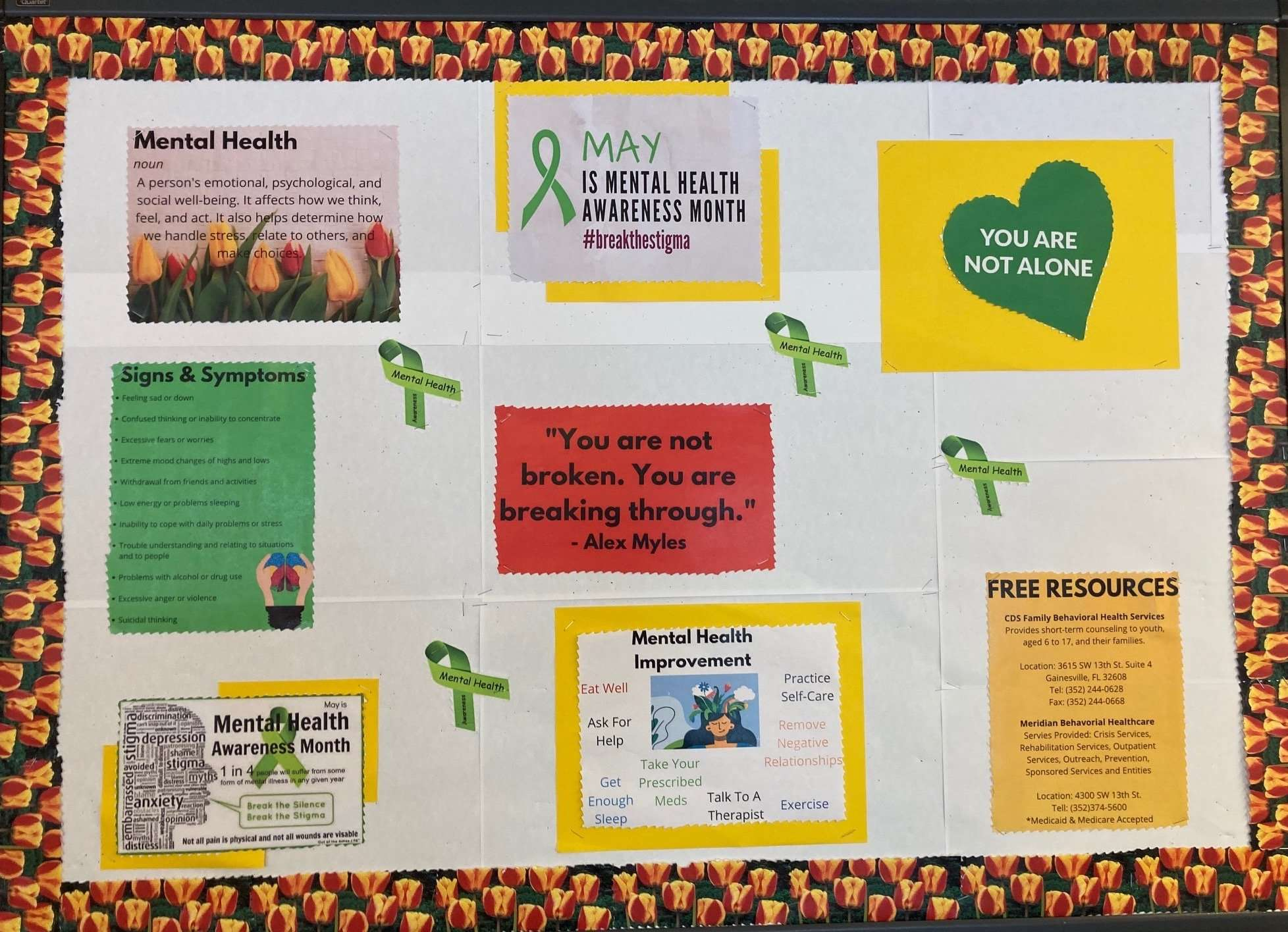 The May 2021 Community Bulletin Board, dedicated to Mental Health Awareness Month
