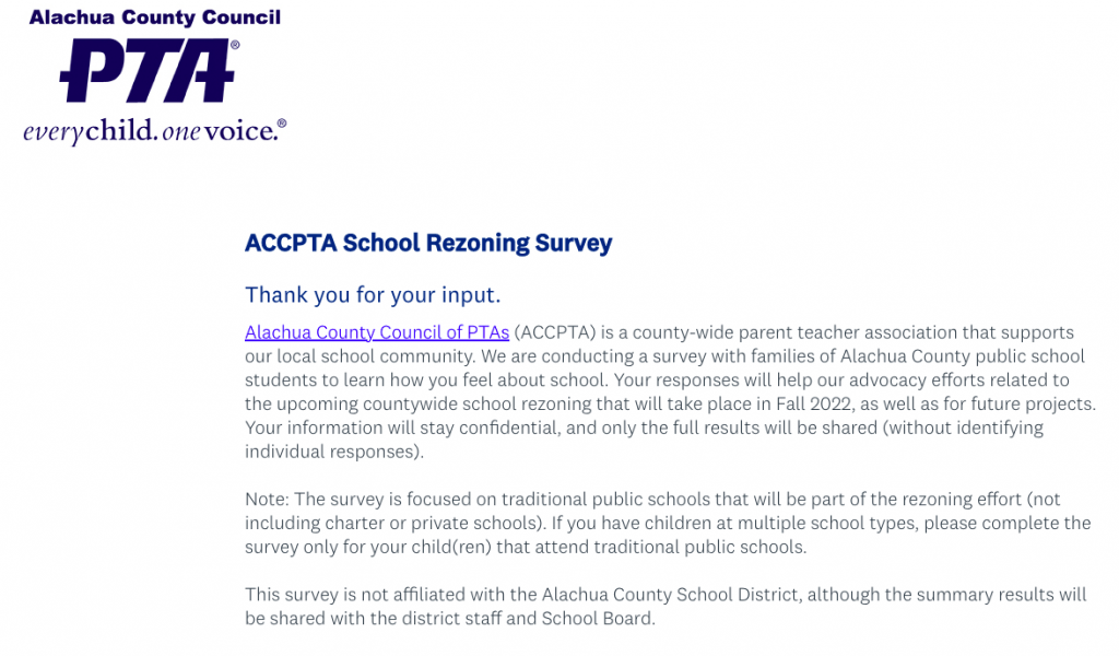 A screenshot of the Alachua County Council online survey about school rezoning