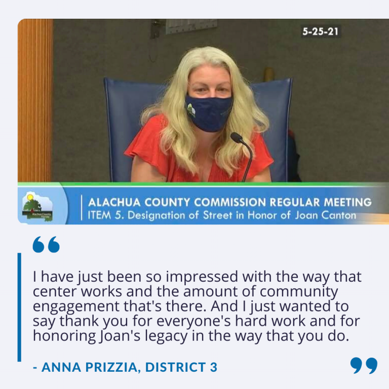 """County Commissioner Anna Prizzia says, """"I have just been so impressed with the way that center works and the amount of community engagement that's there. And I just wanted to say thank you for everyone's hard work and for honoring Joan's legacy in the way that you do."""""""