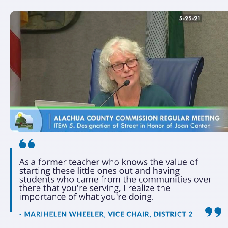 """County Commissioner Marihelen Wheeler says, """"As a former teacher who knows the value of starting these little ones out and having students who came from the communities over there that you're serving, I realize the importance of what you're doing."""""""