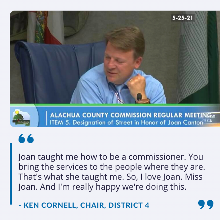 """County Commissioner Ken Cornell says, """"Joan taught me how to be a commissioner. You bring the services to the people where they are. That's what she taught me. So, I love Joan. Miss Joan. And I'm really happy we're doing this."""""""