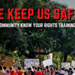 A photo of a protest march in Gainesville and an announcement of the HB1 Know Your Rights Training