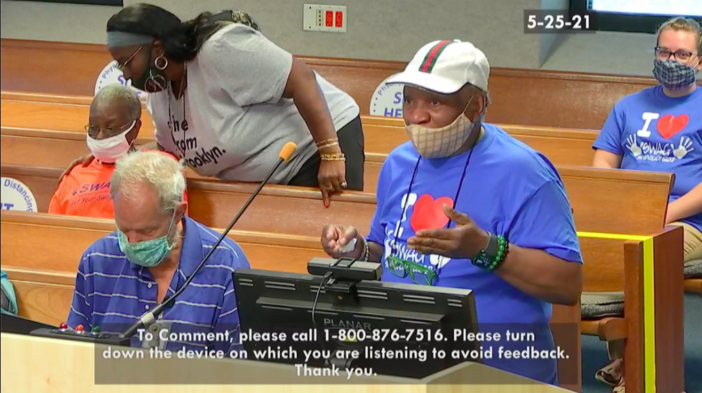SWAG leader speaking at the Alachua County Board of County Commissioners Meeting on May 25, 2021