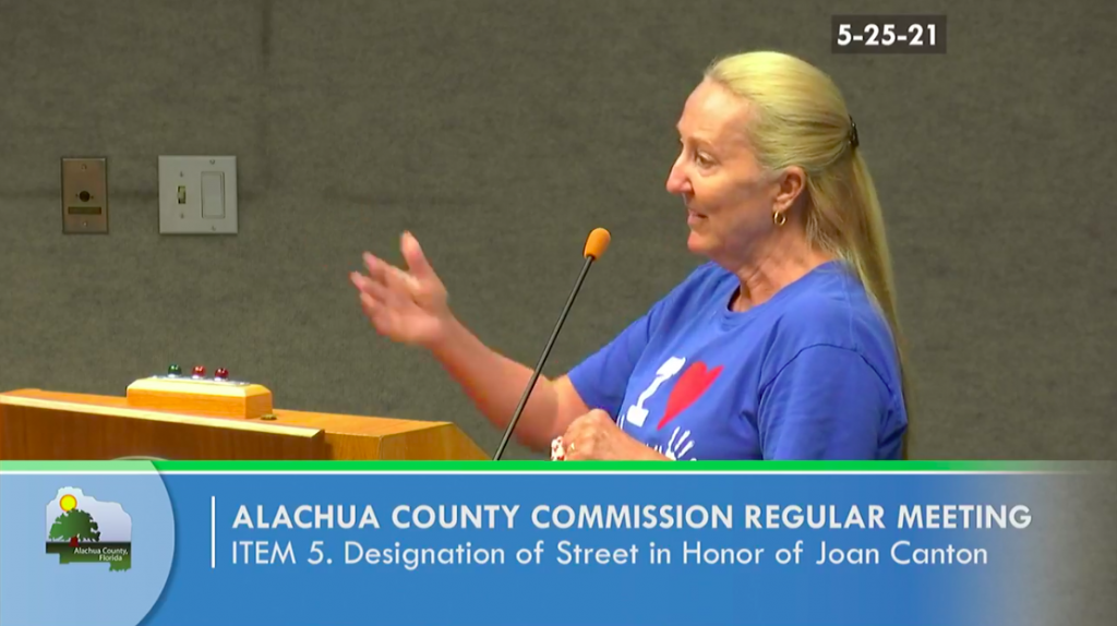 SWAG Board Chair Dorothy Benson speaking at the Board of County Commissioners' vote to name Joan Canton Way