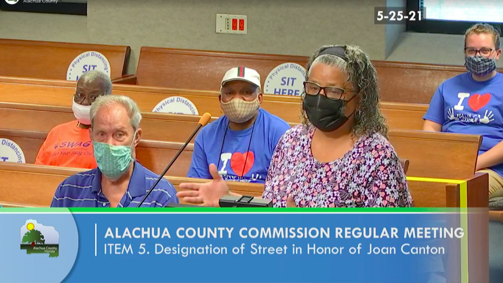 SWAG Board Member Miriam Gonzales speaking at the Board of County Commissioners' vote to name Joan Canton Way