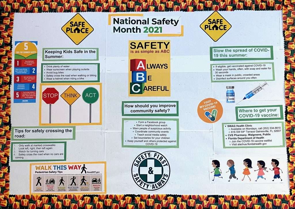 The June 2021 Community Bulletin Board, dedicated to National Safety Month