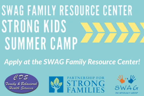 A flyer for SWAG Summer Camp 2021, emphasizing that anyone interested should apply at the SWAG Family Resource Center