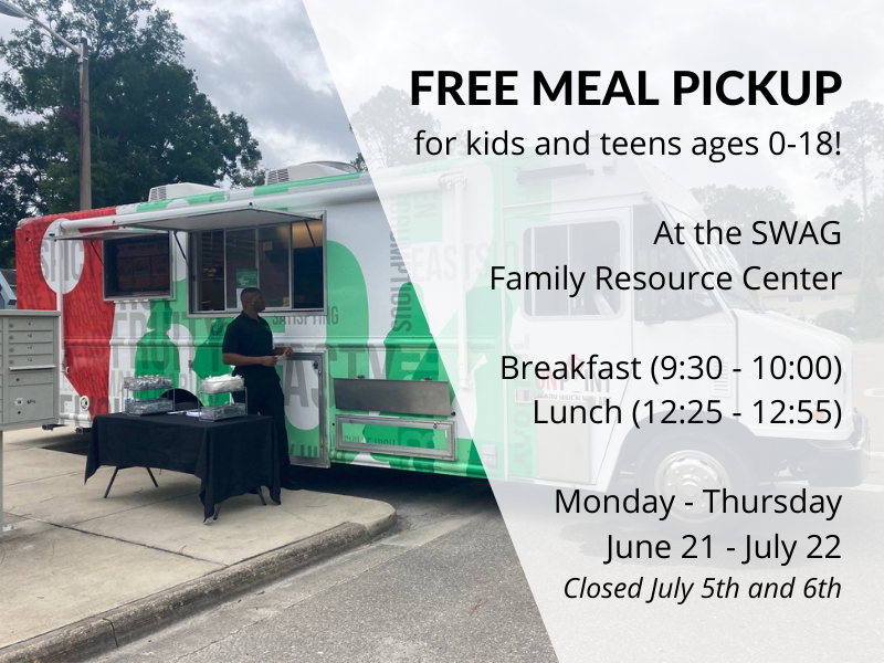 A flyer for free summer meals 2021 at the SWAG Family Resource Center