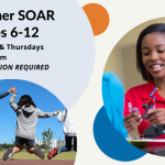 A flyer for Summer SOAR for elementary students, featuring student working with a 3-D model and students jumping in the air together