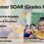 A flyer for Summer SOAR for elementary students, featuring a girl playing with an architectural toy.