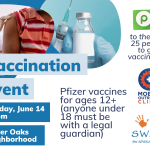 The flyer for the June 14 vaccination drive in the Tower Oaks neighborhood