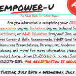 A flyer for the EMPOWER-U adult back-to-school event on July 27 and 28 at GTEC Santa Fe College