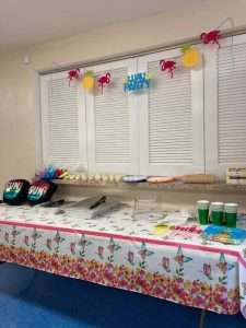Food is ready to be served at the June 2021 Homework Help end-of-year celebration