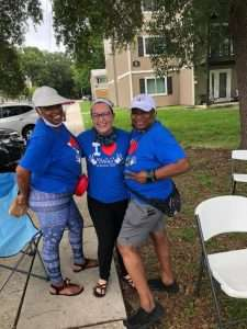 SWAG Board members Samantha Kimbrough, Miranda Martin, and Mclinda Gilchrist stand together in the Majestic Oaks neighborhood