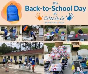 A collage of photos from SWAG's 2021 back-to-school event