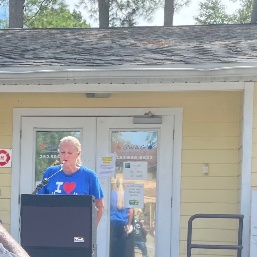 SWAG Board Chair Dorothy Benson gives a speech at the road naming ceremony for Joan Canton Way