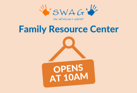 A notification of delayed opening hours at the SWAG Family Resource Center